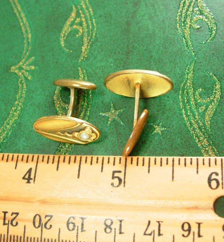 Antique pearl cufflinks Art nouveau cufflinks  flower & snake gold victorian groom cufflinks wedding estate jewelry