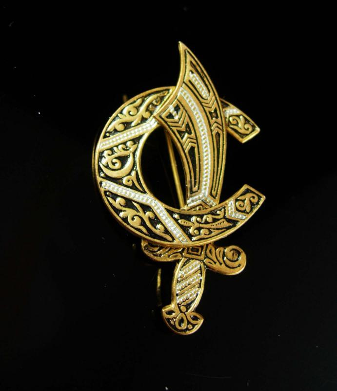 Shriners Mason Brooch Vintage Scimitar Cresent Moon Horseshoe masonic freemason made in Spain