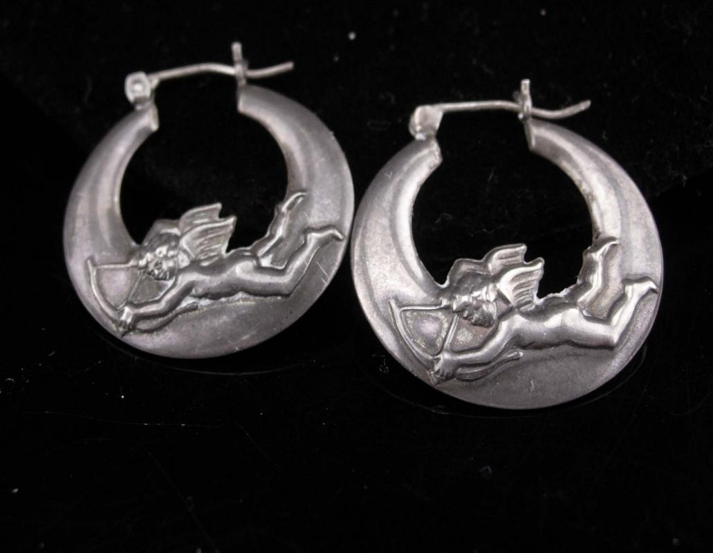 Vintage cupid earrings / sterling mystical hoops / bow & arrow/ sweetheart jewelry / moon stars /  valentines gift / birthday for her