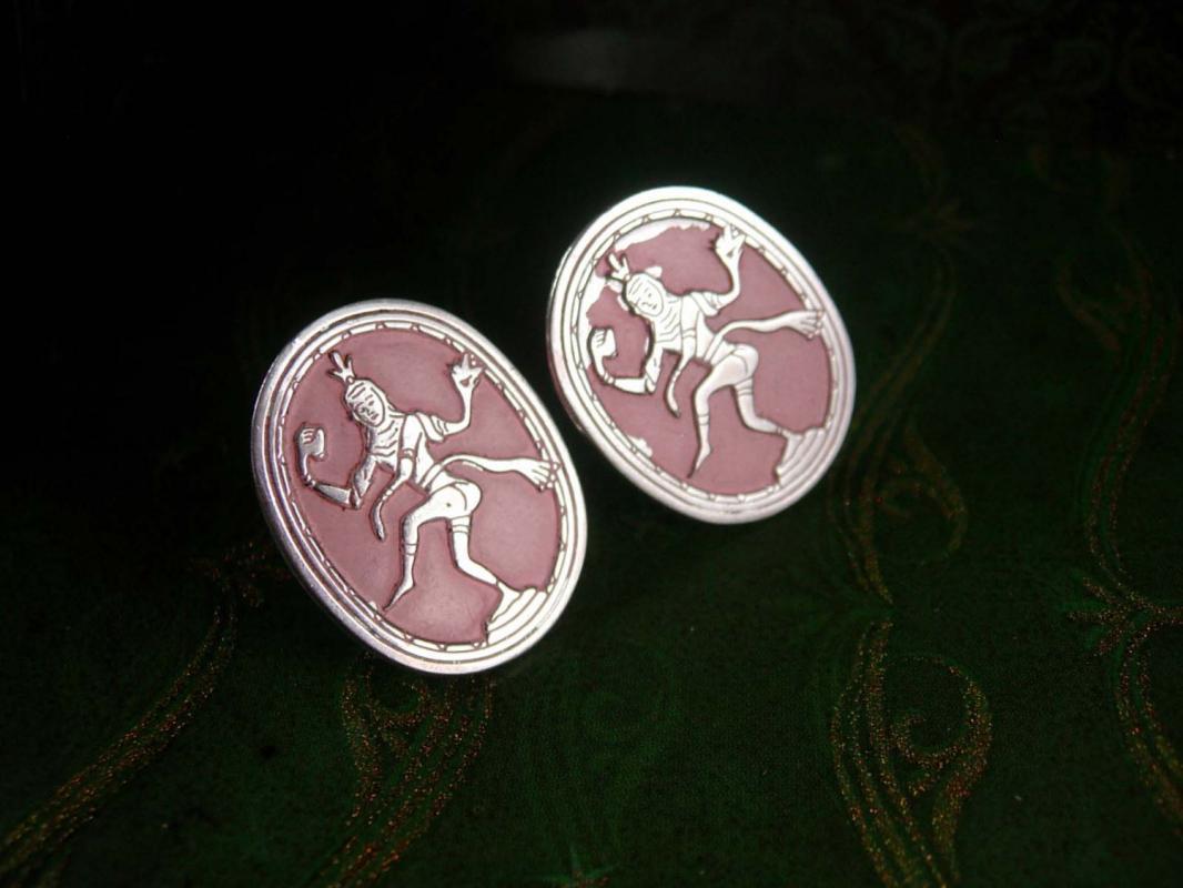 Pink GODDESS Vintage Cufflinks Extra Large Spiritual Thailand Oriental Decorative Cuff Accessory Designer Swank