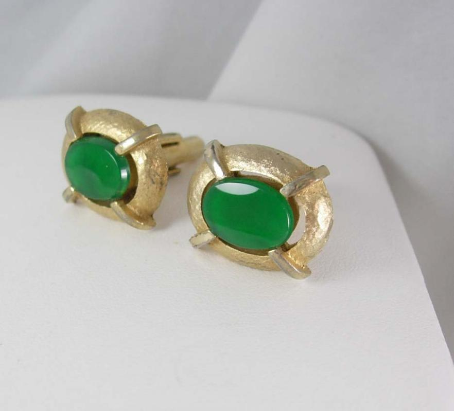 GREEN CHRYSOPRASE Vintage Cufflinks Quartz jewelry Men's Women's Healing Accessory formal wear cuff link gold 4th 22nd 30th 55th anniversary