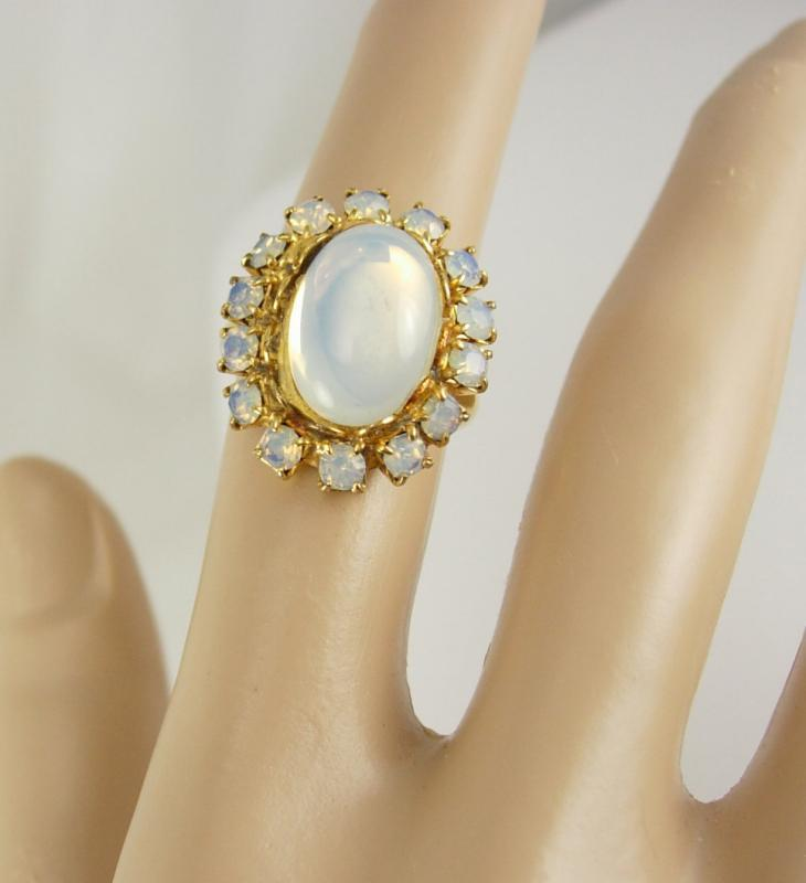 Opalite ring Vintage cocktail Dinner Size 6 Gold plate Wedding Anniversary Birthday ladies womens jewelry