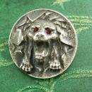 Antique Victorian lion Brooch ruby Jeweled Eyes paste rhinestone mens lapel pin estate jewelry 800 silver mens womens jewellery