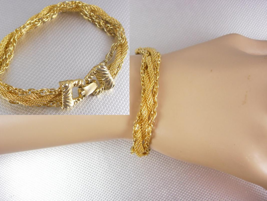 Goldette Woven Mesh Bracelet with chains
