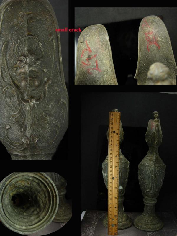 Antique Cherub urns - Victorian Pitchers - gothic silver - goddess urn - art nouveau medieval angels -