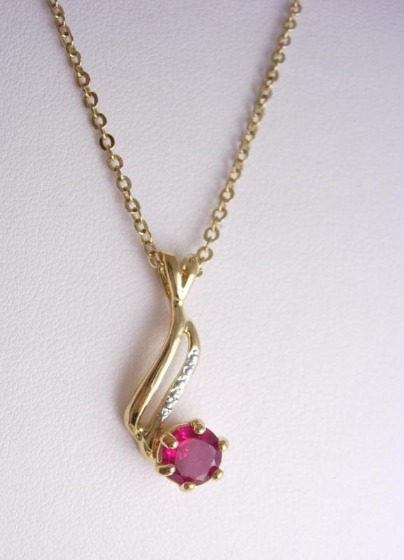 Ruby  necklace pendant gold silver faux diamonds lindenwold JULY birthstone bridesmaid gift