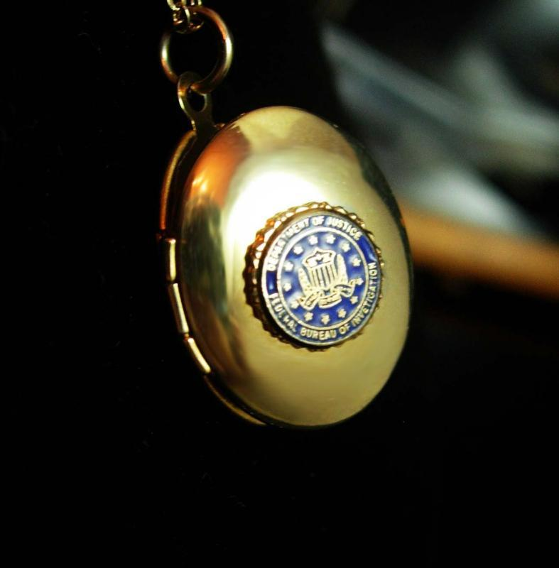 FBI Locket Necklace - Vintage Dept of Justice Pendant - graduation gift - law enforcement - 18 inch Chain Federal Bureau Investigation