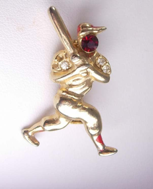 Vintage Jeweled Baseball Player Brooch Rhinestone Figural Novelty Ballpark Man Cave Sports pin retro gold jewelry
