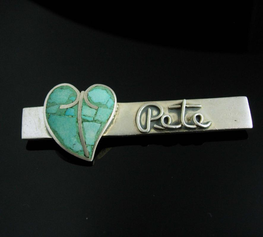 Vintage PETE Turquoise Brooch sterling silver Heart design sweetheart sentimental personalized name pin UNUSUAL stone estate jewelry