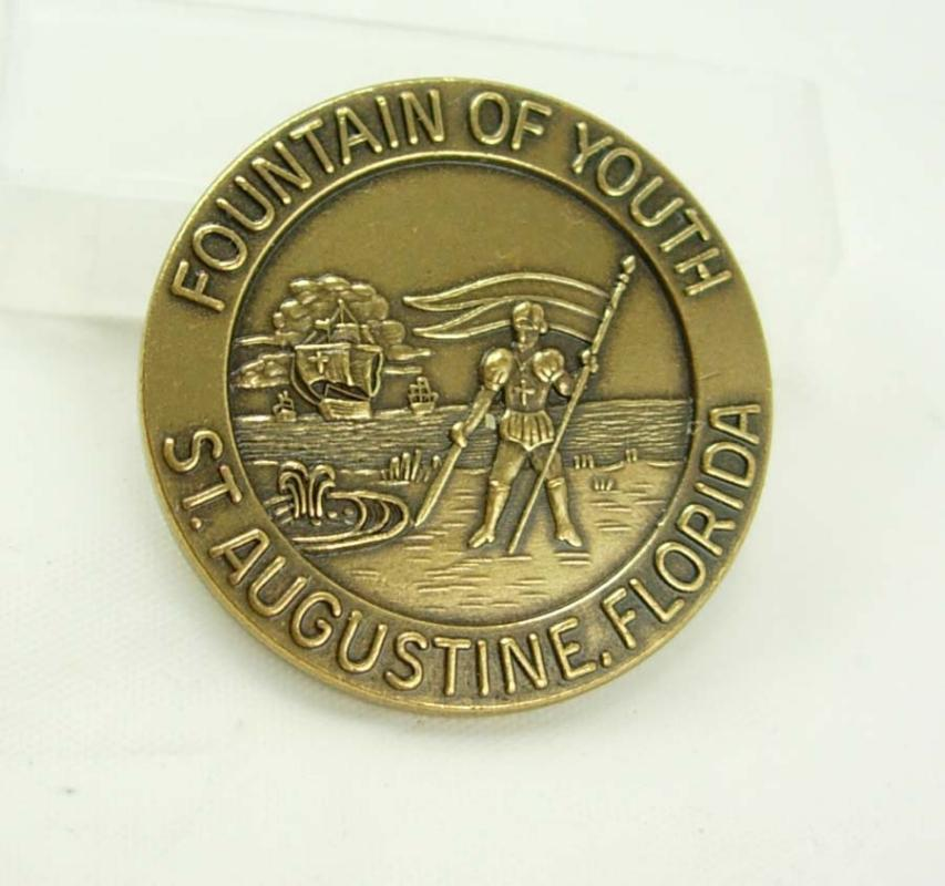 Vintage Fountain Youth Token Historical Medal St Augustine Florida Ponce de Leon Birthday Collectors