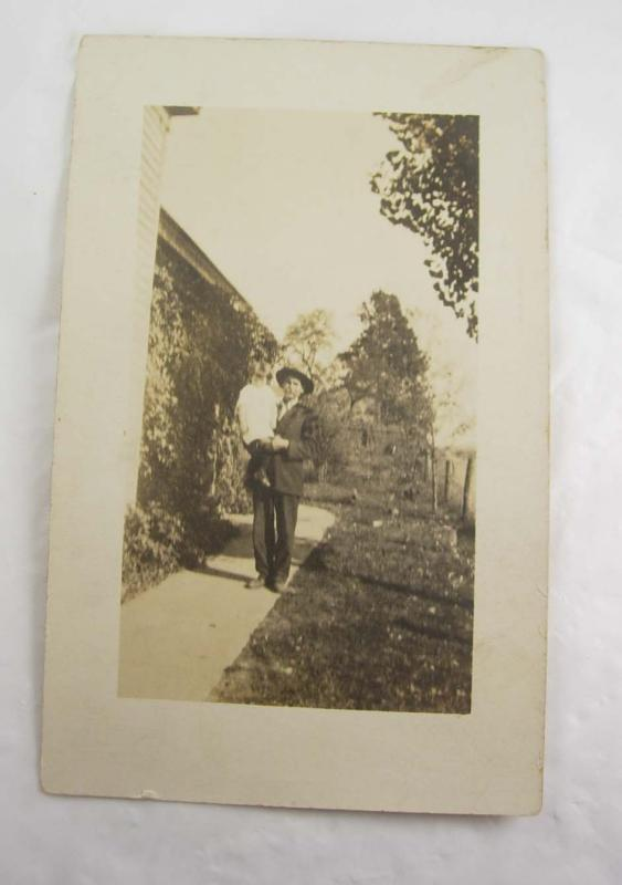 1900's Grandpa and Grandchild RPPC Postcard real photo with hat