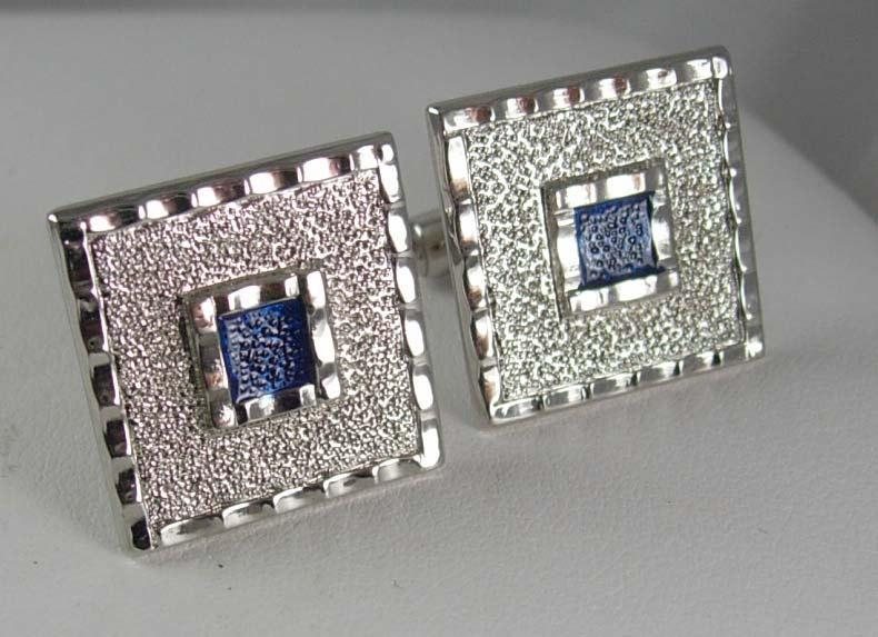 Large Blue enamel Cufflinks Vintage Square modernist artistic wedding jewelry groom groomsman gift  Silvertone edge Clothing Accessory