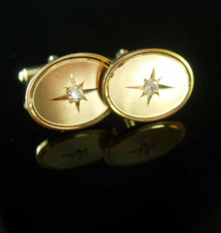 Eye Catching Starburst Cufflinks Vintage Rhinestone Jewelry gold tuxedo cuff links mens formal wear  diamond cut center wedding accessory