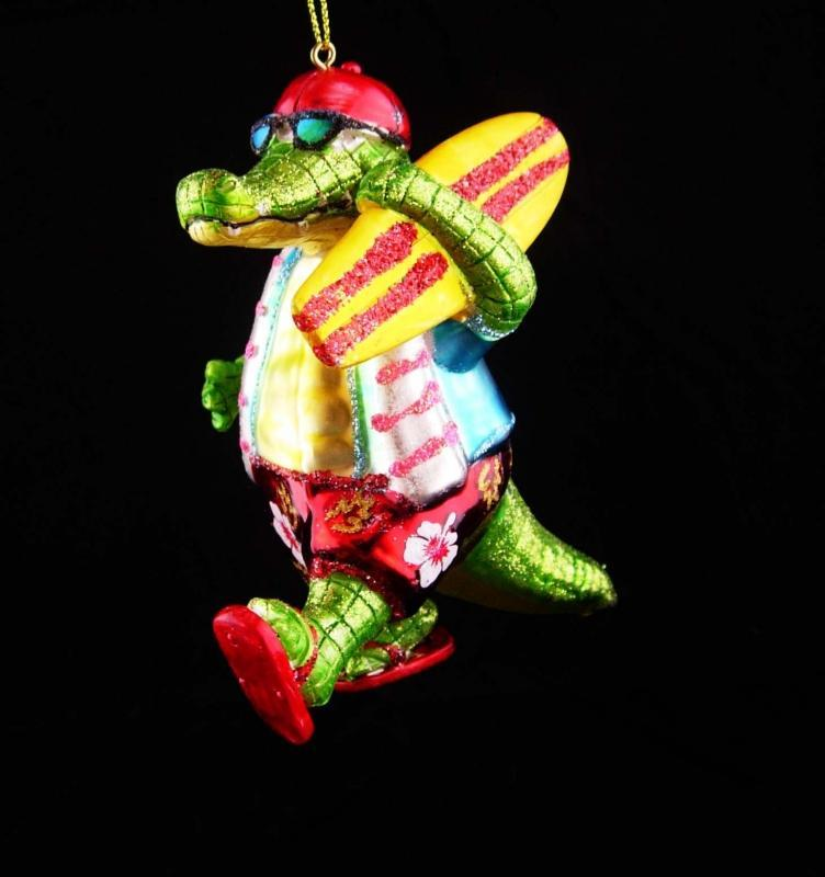 Hilarious surfer ornament / glass ornament / green alligator / 5