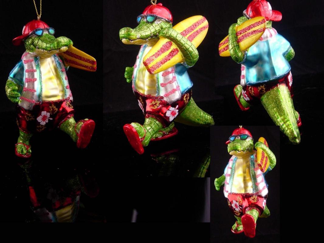 Hilarious surfer ornament / glass ornament / green alligator / 5