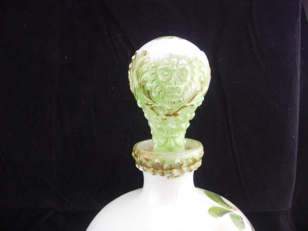 1800's  lion Bottle set / Victorian Vanity / Antique Milk Glass / Toilet Water Bottle / Gothic decanter set / handpainted bottle