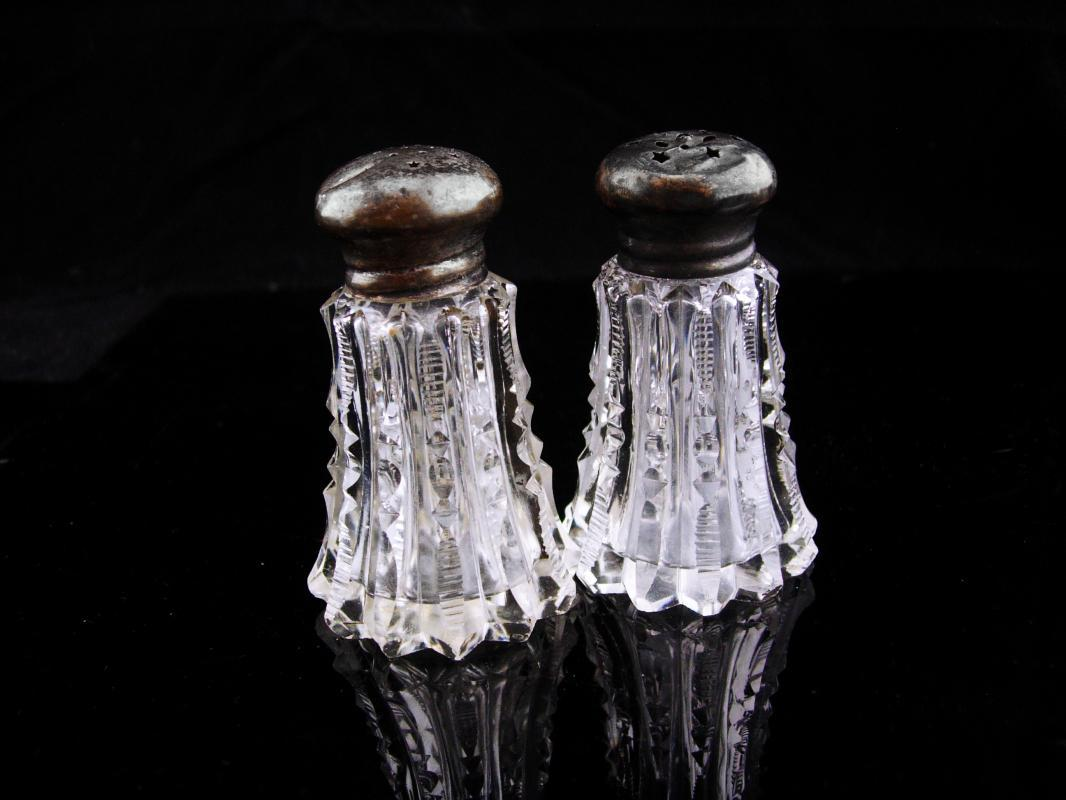 1800's salt pepper / Moon stars holes / Antique salt pepper / sterling tops /  Cut Crystal /american brilliant  Victorian Salt Pepper Shaker