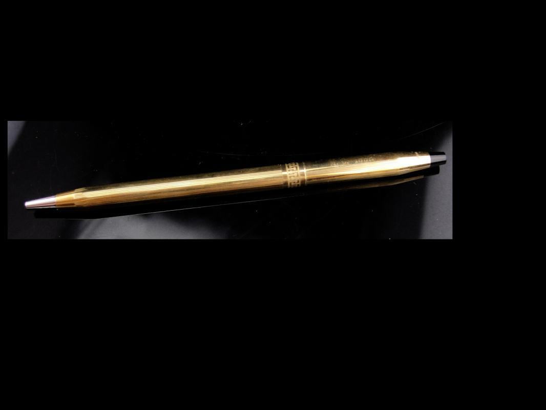 1992 Vintage Cross Pen / 1/20th 10kt Gold filled / Greek key design/ Blue ink / made in usa / engraved MC / letter MC / initial MC
