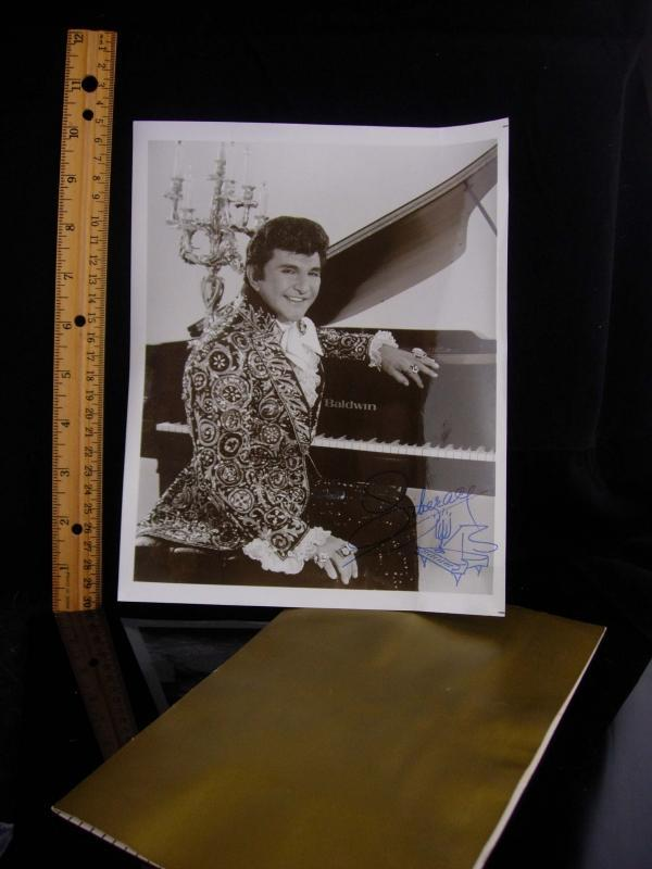 Liberace Photo and menu / vintage signed photograph / gold folder / haunted Liberace's Tivoli Gardens / las vegas entertainer / music gift