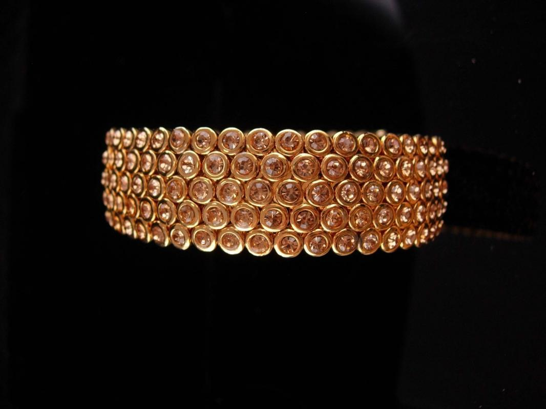 Stunning pave Bracelet / LOADED with stones / suzanne somers/  original paperwork and box / gold bangle / Bridal jewelry / anniversary gift /vintage costume