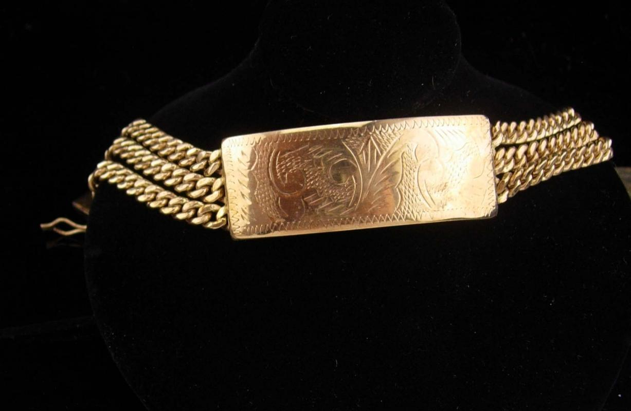 Vintage gold bracelet / women or mens / victorian etchings / extra security clasp / high quality and well made