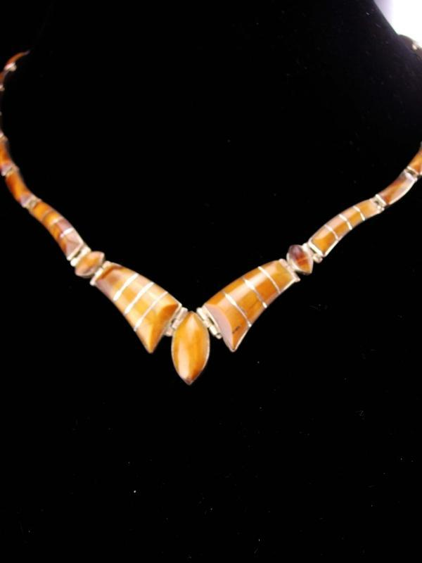 Vintage TigerEye necklace / sterling mexico / 950 silver / tiger eye choker / cats eye / anniversary gift  / good luck gift /mexican jewelry