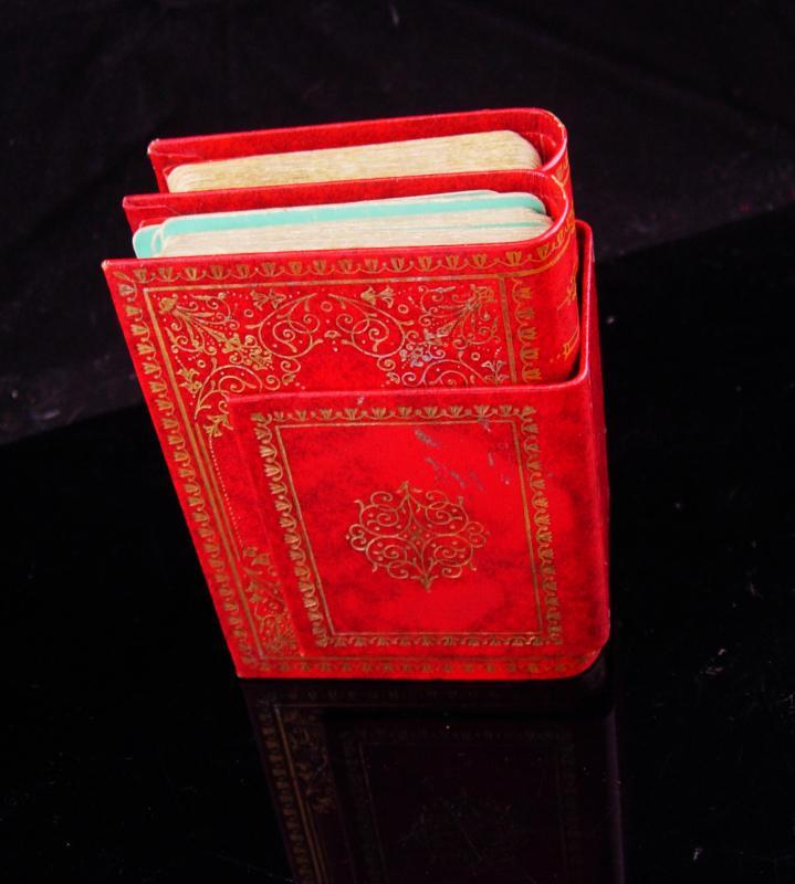 Vintage Miniature Book / playing card case / red leather book / gilded book / victorian gift / Canasta gift / card player gift