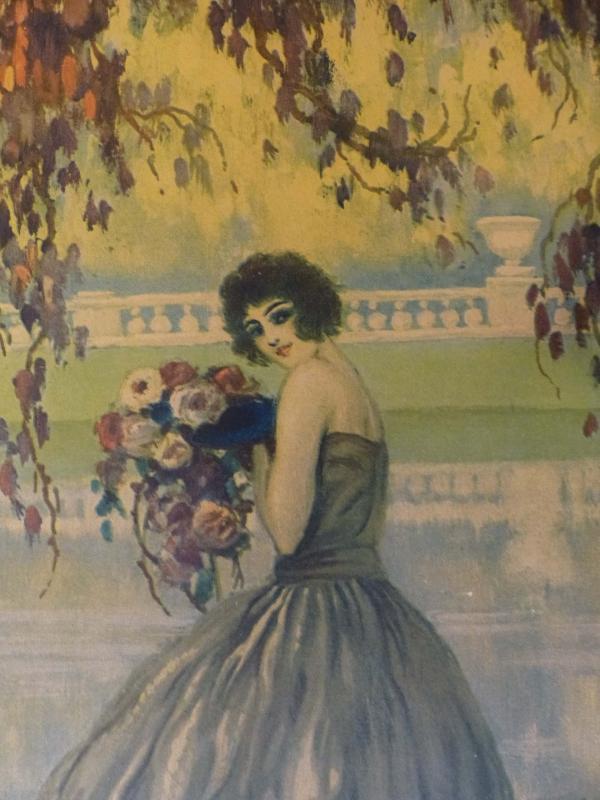 Large Antique French artist lithograph / René Ligeron /  Boudoir Art / Vintage Art Deco print/  Risque Rare Art Nouveau /frame /31 1/2 x 18