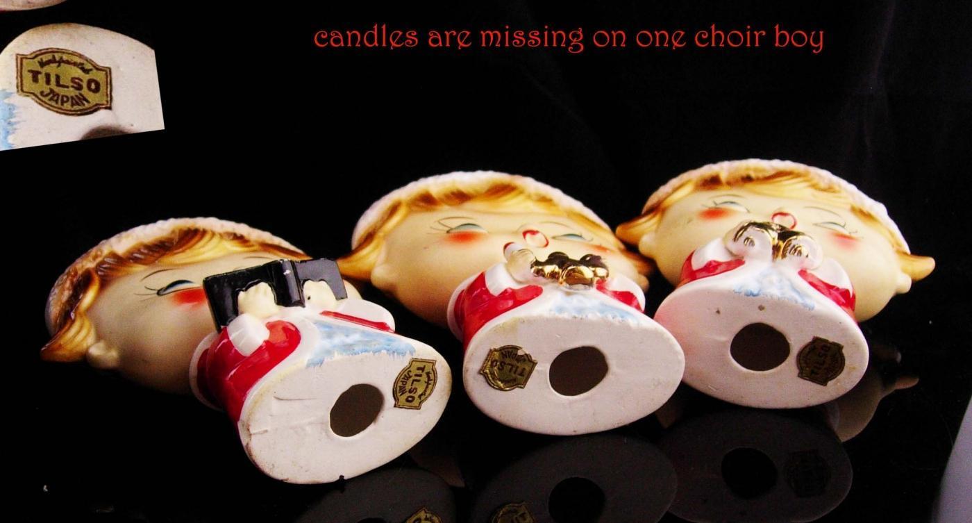 1950's Japan Christmas figurines / set of three / Tilso Choir boys /  santa  helper statues / mantle figurines / original tags