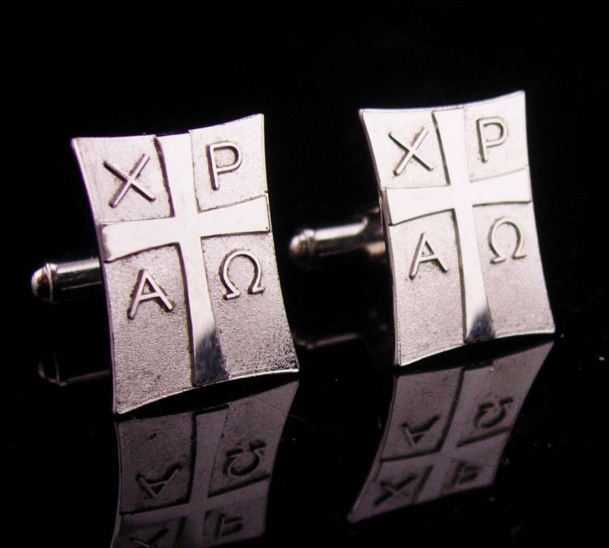 Vintage sterling Cufflinks / ancient Chi-Rho symbol / Christogram set /  Antaya sterling / mens Christian jewelry / Roman military symbol
