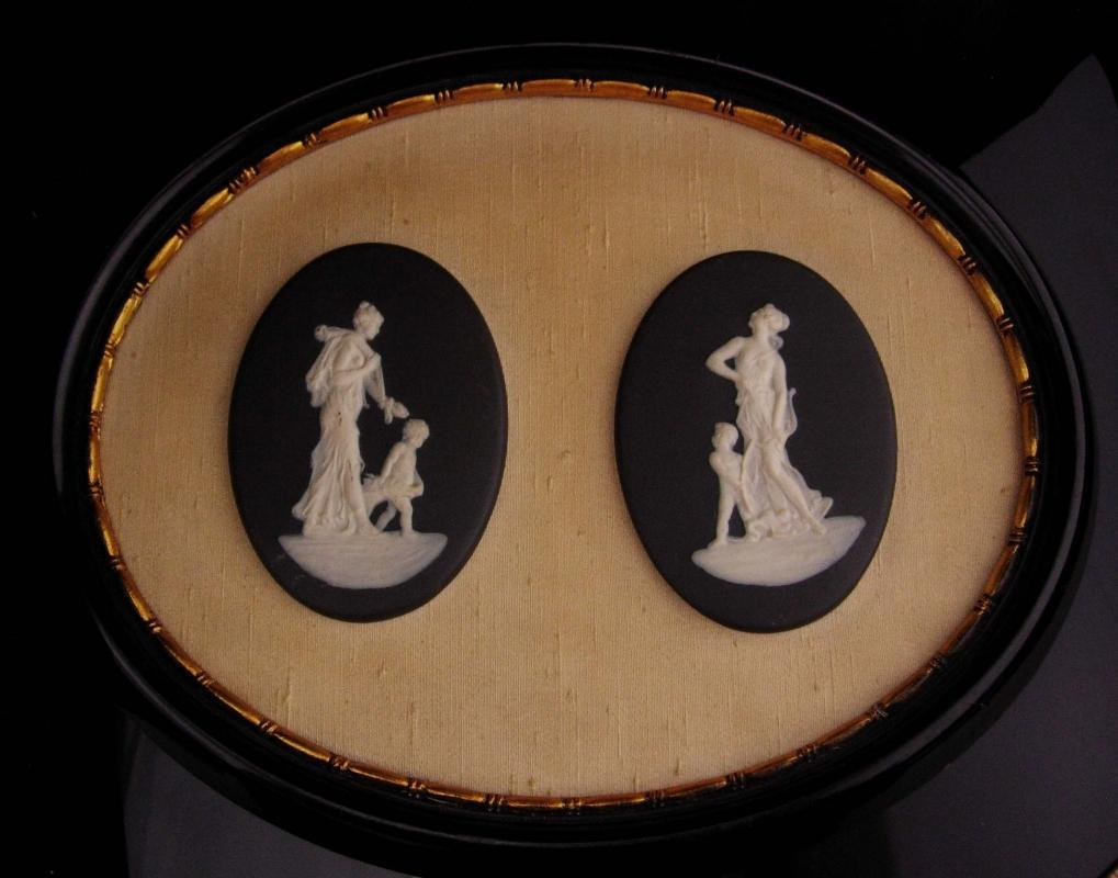 Antique Framed Victorian angels / wedgwood goddess plaques /  Mother Angel / Child Baby / Vintage Italian / mythical women / greek mythology