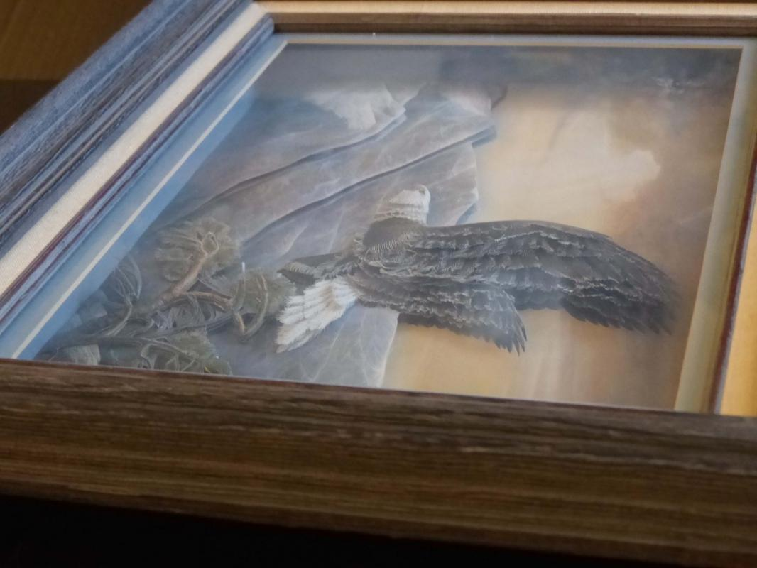 Awesome Inspirational Eagle / framed shadowbox / hand made paper art / 3d eagle under glass / nautical gift / patriotic bird