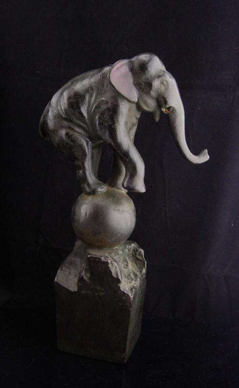 Antique Circus Elephant statue / art deco sculpture / Vintage architectural column / circus Doorstop / elephant on ball /unusual circus gift