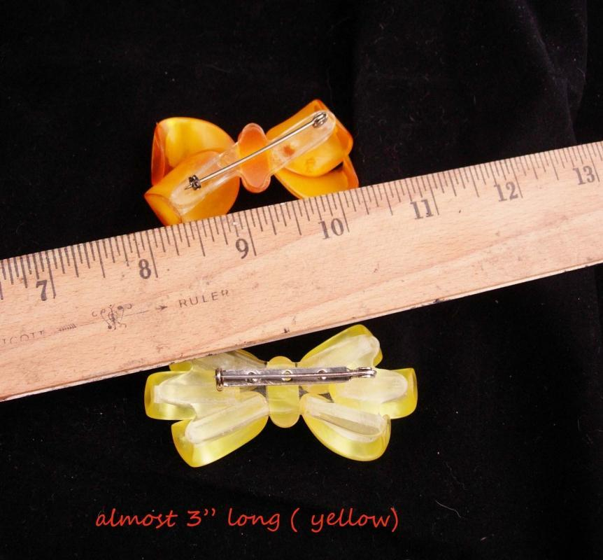 2 Large Lucite bow Brooch / Moonglow lucite / vintage brooch / gift for mom / christmas bow / costume jewelry / something old /yellow orange