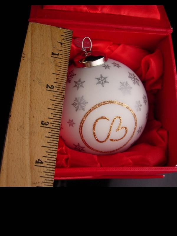 Vintage Christie Brinkley ornament / initial CB / original box / designer SMILE ornament