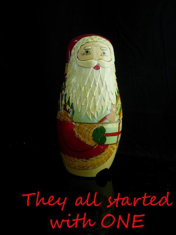 Vintage Nesting set / Victorian Santa Claus / 6 piece Set / Hand Painted / Christmas Folk Art  / 7