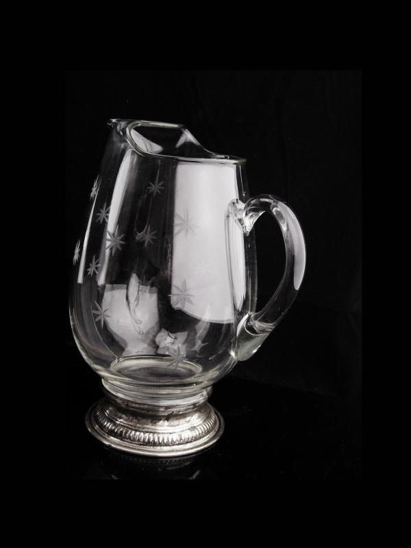 Antique sterling water pitcher / seamed etched pressed glass / vintage starburst pattern / Atomic snowflakes / water pitcher /crown sterling