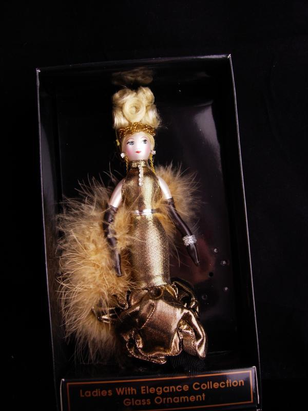 Diva in Gold ornament / Italian Blown Glass / De Carlini / Vintage Christmas tree ornament / original box / hollywood jewelry