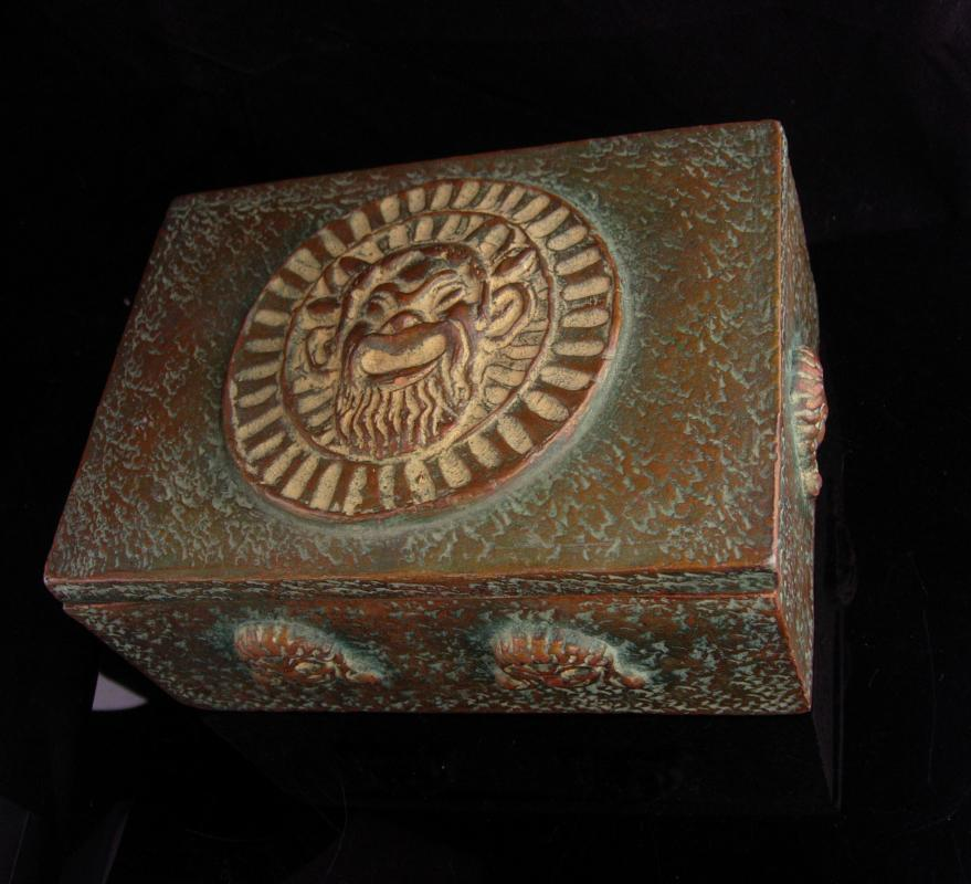 Vintage Devil Box / Italian gargolye box / signed primitive satan mascaron  / grotesque mask / figural box / primitive gift / gift for him