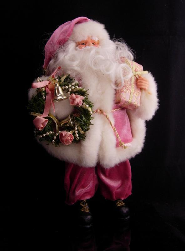 Pink Santa doll / Christmas Decoration / Vintage 12