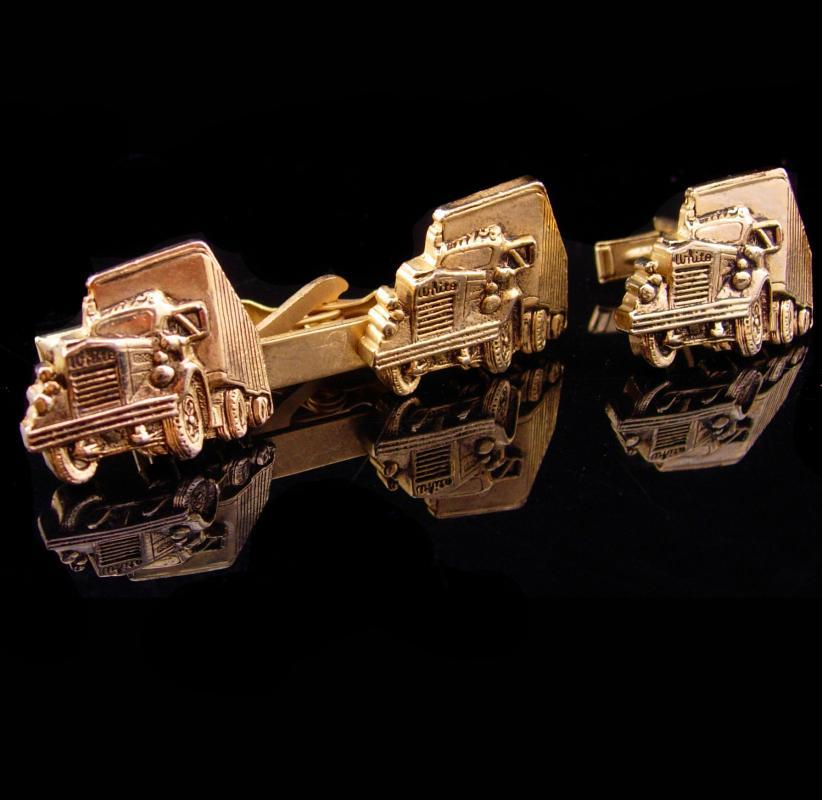 Vintage Semi truck cufflinks / white motor company / Tractor Trailer tie clip  / Vintage gold Truckers gift / fathers day gift