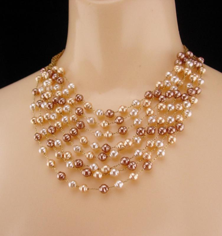7 strand genuine pearl necklace / statement necklace /  vintage Pearl bib / designer jewelry / wedding choker / freshwater pearls