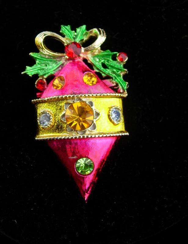 Vintage PINK ornament  brooch / Vintage rhinestone pin / Christmas lapel pin / gift for her / december birthday / ornament collector gift