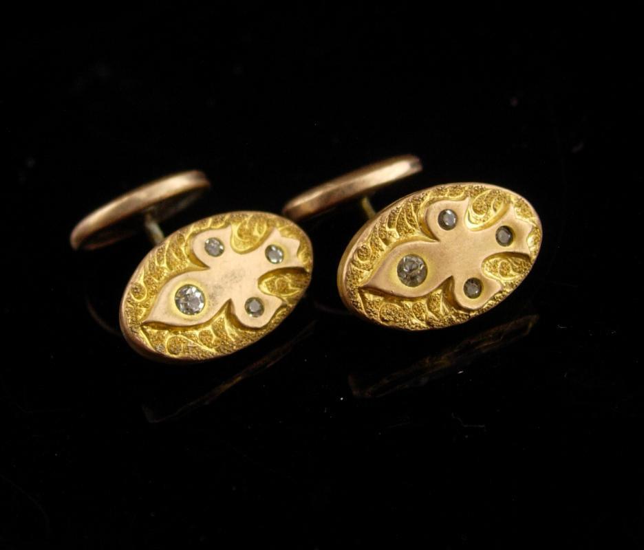 Antique Victorian Cufflinks / gold Fleur de Lis / medieval renaissance wedding / fancy paste set  / estate jewelry / tuxedo cufflinks