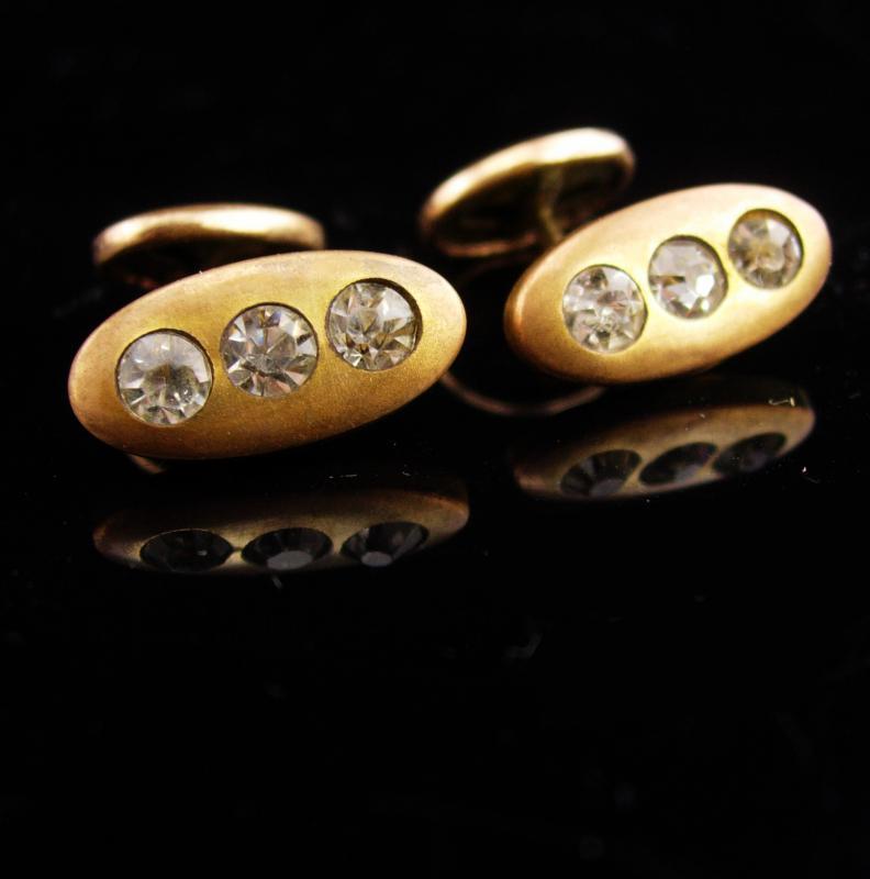 Antique cufflinks /  victorian set / gold groom cufflinks / wedding estate jewelry / tuxedo cufflinks / anniversary gift for him