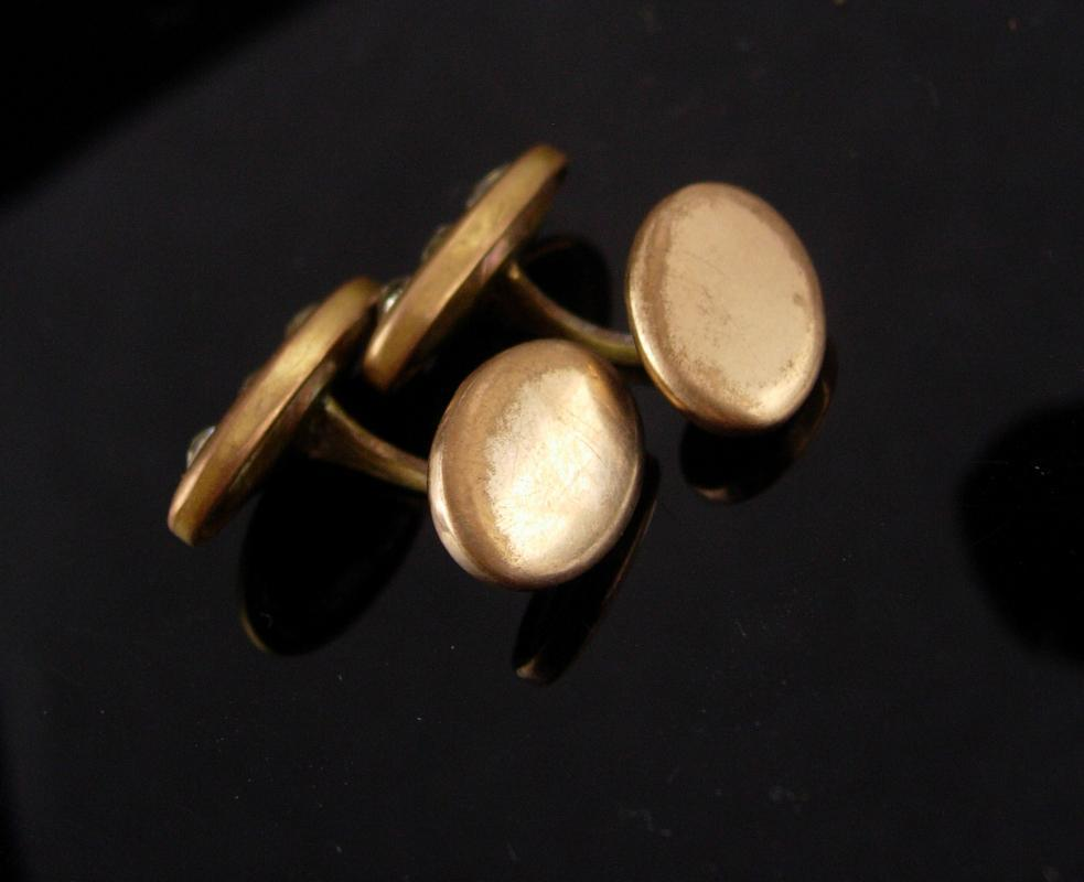 Antique cufflinks /  victorian set / gold groom cufflinks / wedding estate jewelry / tuxedo cufflinks / anniversary gift for him