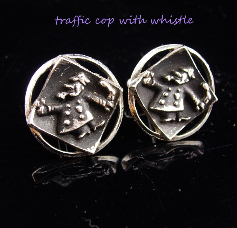 Vintage Traffic cop Cufflinks / police whistle / Novelty gift  / crossing guard set / silver black cufflinks / groom gift / father of bride