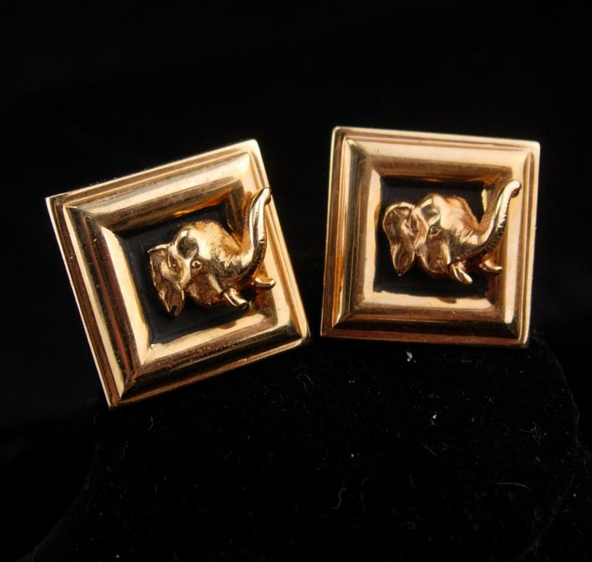 3D Good Luck ELEPHANT Cufflinks / Men's Republican gift  / Swank novelty set / figural animal / India Circus /  gold Cuff link Jewelry