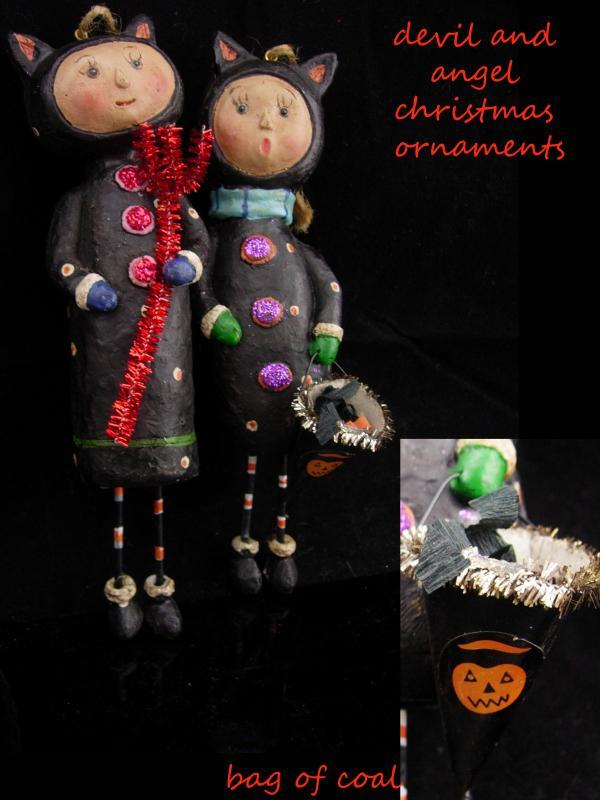 Devil and Angel Christmas Ornaments / Whimsical folk art dolls / halloween set / lump of coal / red pitchfork / Cat dolls /stocking stuffer