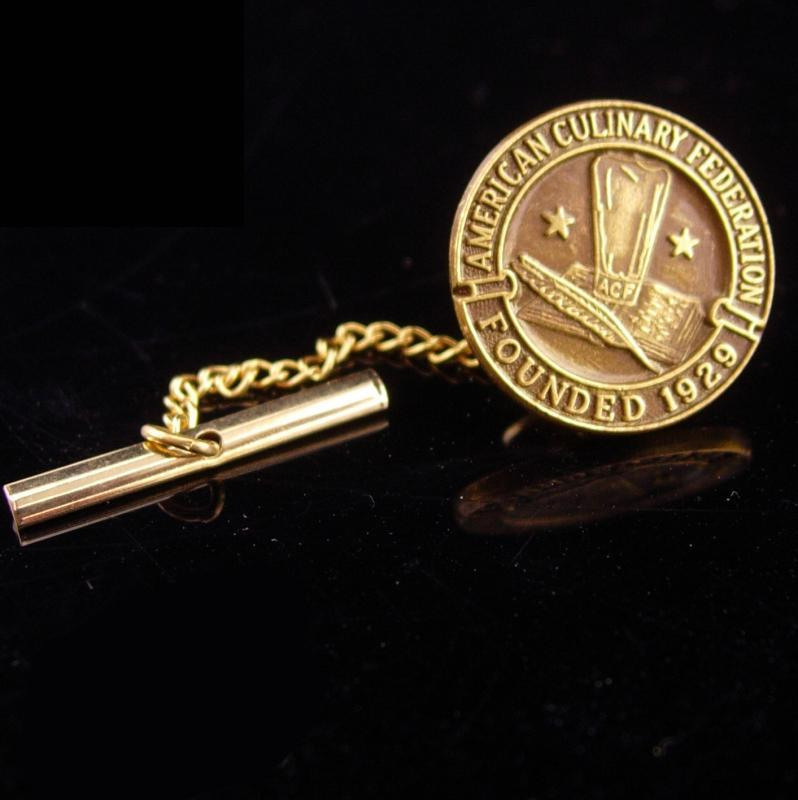 Vintage Culinary Tie Tack / Chef gift / caterer gift /  acf Food Services / Hospitality gift  / restaurant owner gift / gold tie tack chain